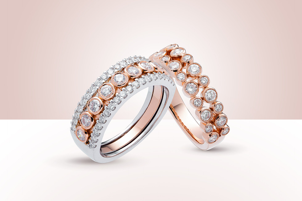 Rose and White Gold Diamond Rings