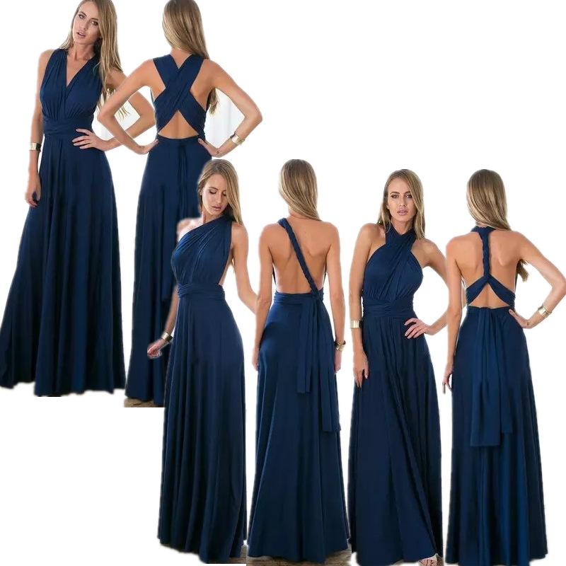 DIY-Dress-Style-As-You-Like-Europe-fashion-sexy-backless-wrap-black-red-elegant-women-long