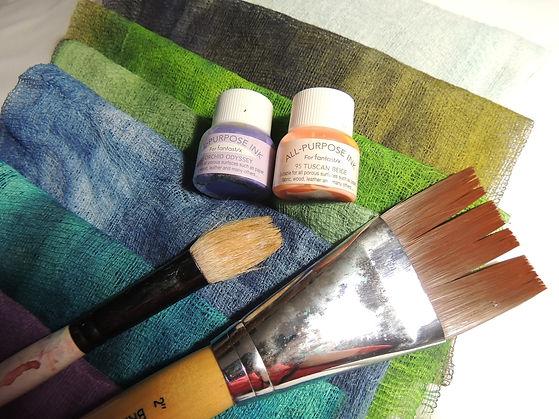 Tsukienko Inks and cheese cloth.jpg
