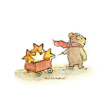 cute Becky Kelly bear with a star filled wagon