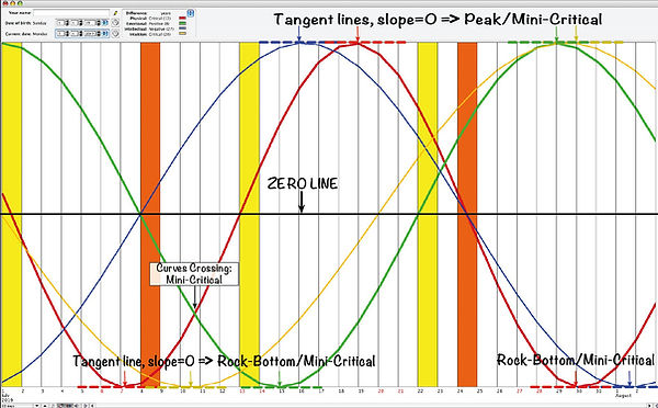 Biorhythm showing Mini-Critical Days Poi
