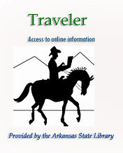"Traveler logo: outline of cowboy riding on horse and typing on a computer. Text reads ""Traveler: Access to online information, Provided by the Arkansas State Library"""