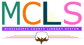 "Logo for Mississippi County Library System. The initials, MCLS, are placed above a puple banner that spells the whole name. Below, a cotton bowl hovers with multi-colored rays. The ""L"" of the logo has yellow lines coming from it, which makes it look like an open book"