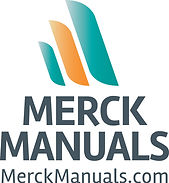Merck Manuals, MerckManuals.com with 3 stripes above the words, small teal, middle orange, large teal: gradually getting larger from left to right