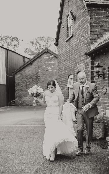 Bride and father walking, Sandhole Oak Wedding Cheshire