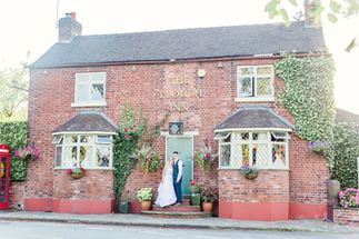 Bride and Groom outside The Plough Inn, Cheshire