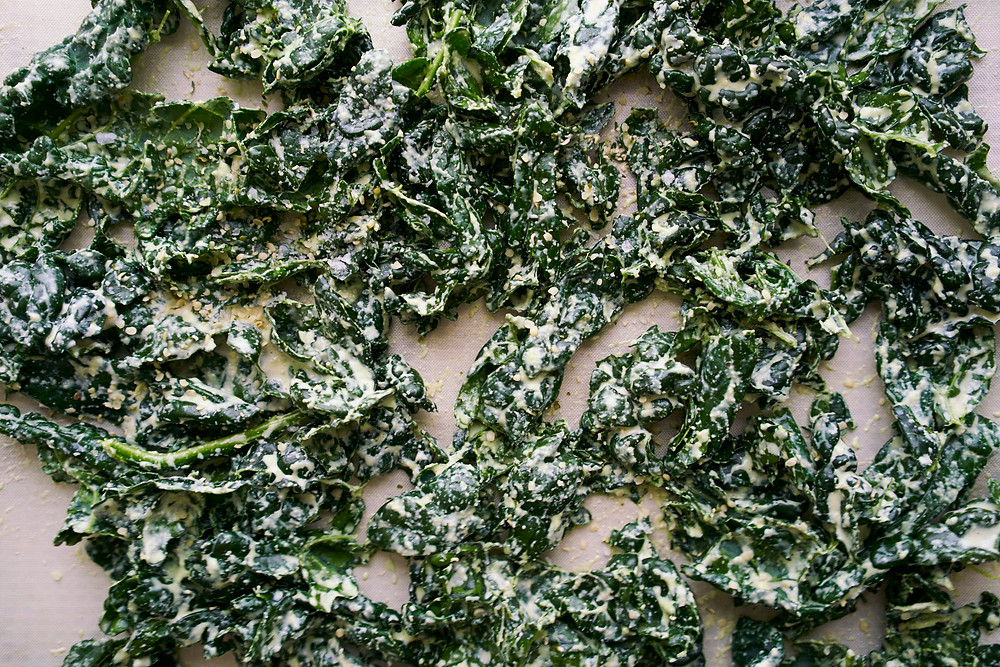 Kale on dehydrator tray