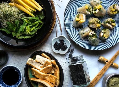 Tofu Spring Rolls With Dill Avocado Dip