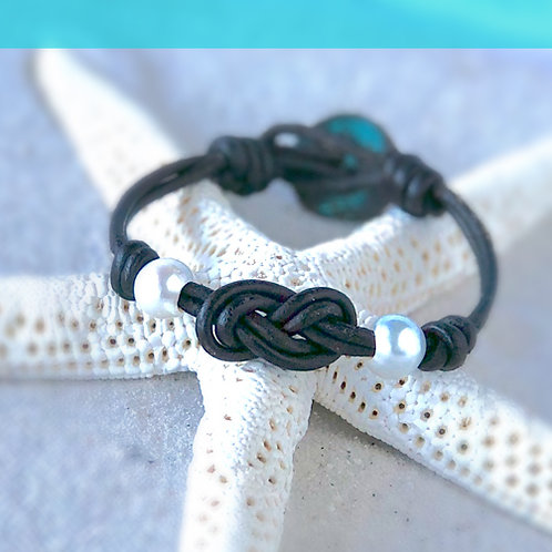 Double Infiniti Knot with White Pearls Bracelet