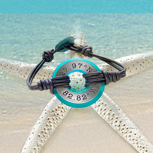 Aluminum Clearwater Beach Coordinants-Coastal Teal Beach Glass Bracelet