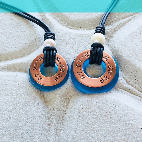 Copper Clearwater Beach Coordinants-Coastal Blue Beach Glass-Pearl Necklac