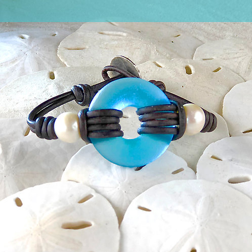 Watercolor Blue Signature Beach Glass with Pearls Bracelet