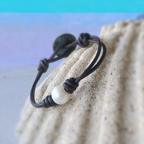 Single Large White Fresh Water Pearl Bracelet