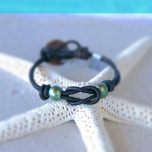 Single Infiniti Knot with Seafoam Green Pearls Bracelet