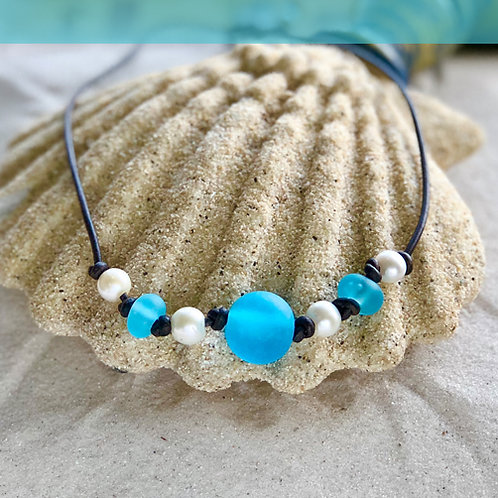 Watercolor Blue Beach Glass Globe with Spacers and Pearls Necklace
