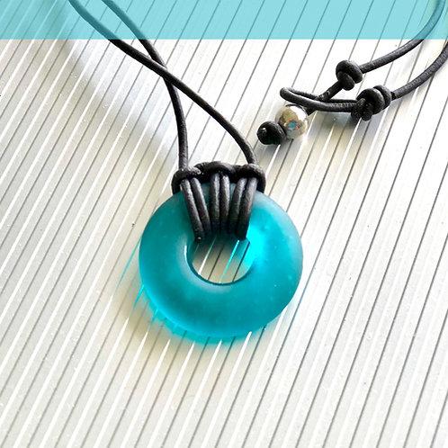 Coastal Teal Signature Beach Glass wtih Knuckle Knot Necklace