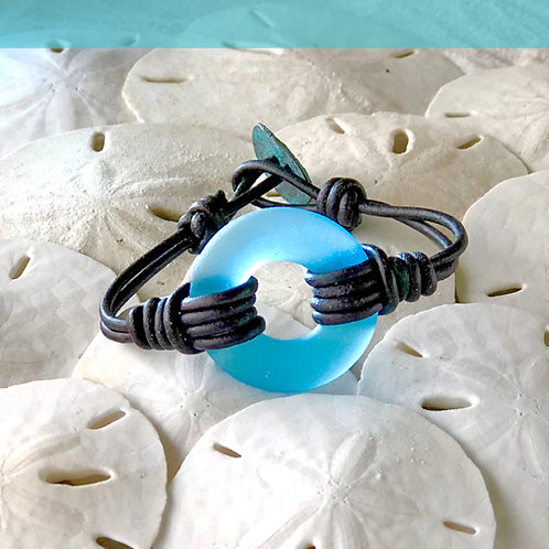 Watercolor Blue Signature Beach Glass Bracelet