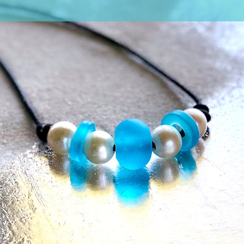 Watercolor Blue Beach Glass Globe and RIngs with Pearls Necklace