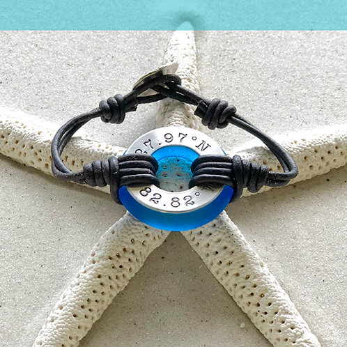 Aluminum Clearwater Beach Coordinants-Coastal Blue Beach Glass Bracelet