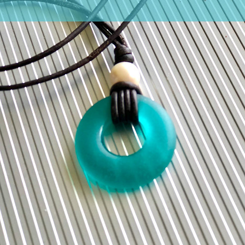 Coastal Teal Signature Beach Glass with Large Pearl Necklace