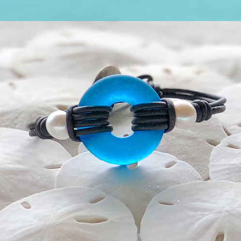 Coastal Blue Signature Beach Glass with Pearls Bracelet