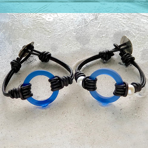 Cobalt Blue Small Ring Beach Glass With or WIthout Pearls Bracelet