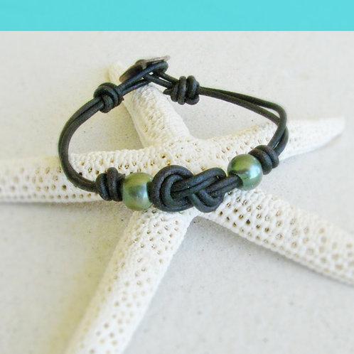Double Infiniti Knot with Seafoam Green Pearls Bracelet