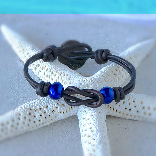 Single Infiniti Knot with Blue Pearls Bracelet