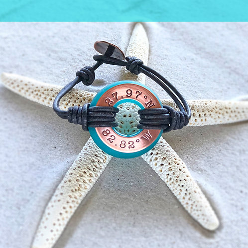 Copper Clearwater Beach Coordinants-Coastal Teal Beach Glass Bracelet