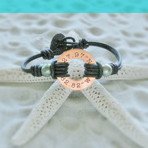 Copper Clearwater Beach Coordinants with Seafoam Green Pearls Bracelet