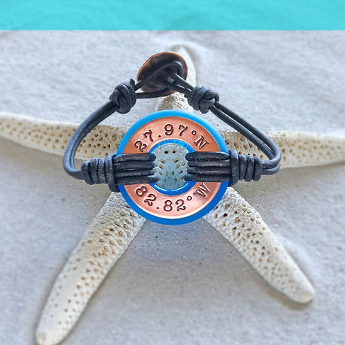 Copper Clearwater Beach Coordinates-Coastal Blue Beach Glass Bracelet