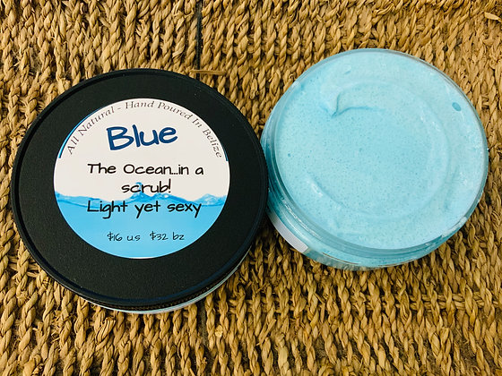 """BLUE"" Foaming Whipped Sugar Scrub  Ocean in a jar!"
