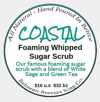 COASTAL Foaming Sugar Scrub--Sage and Tea