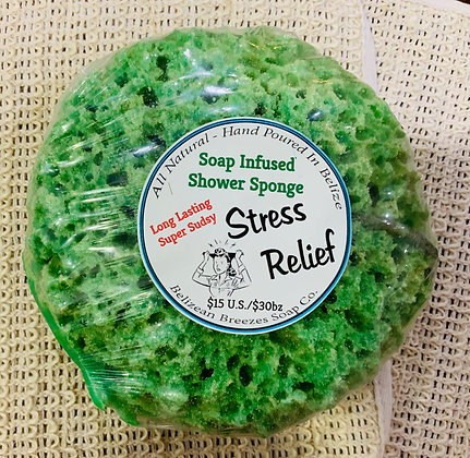 Stress relief soap infused shower sponge