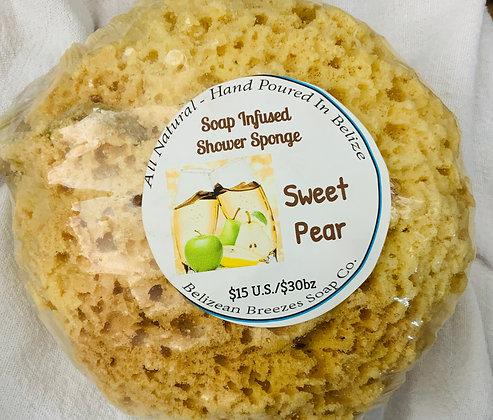 Sweet Pear soap infused shower sponge