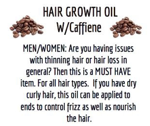Hair Growth Oil w/Caffeine  ***LARGE . Size