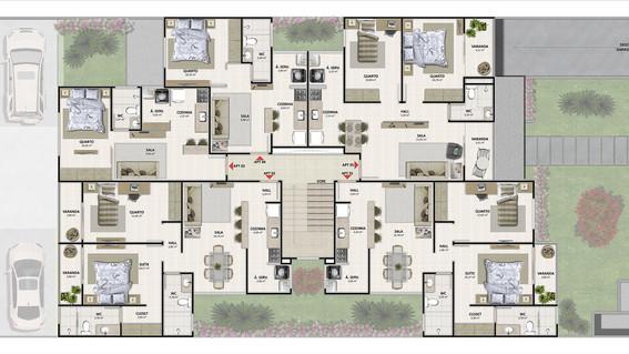 Edifício Multifamiliar - Planta Tipo 1