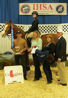 Deanna Pratt (Zajic) named Champion in the Novice Equitation over Fences at IHSA Nationals 2014