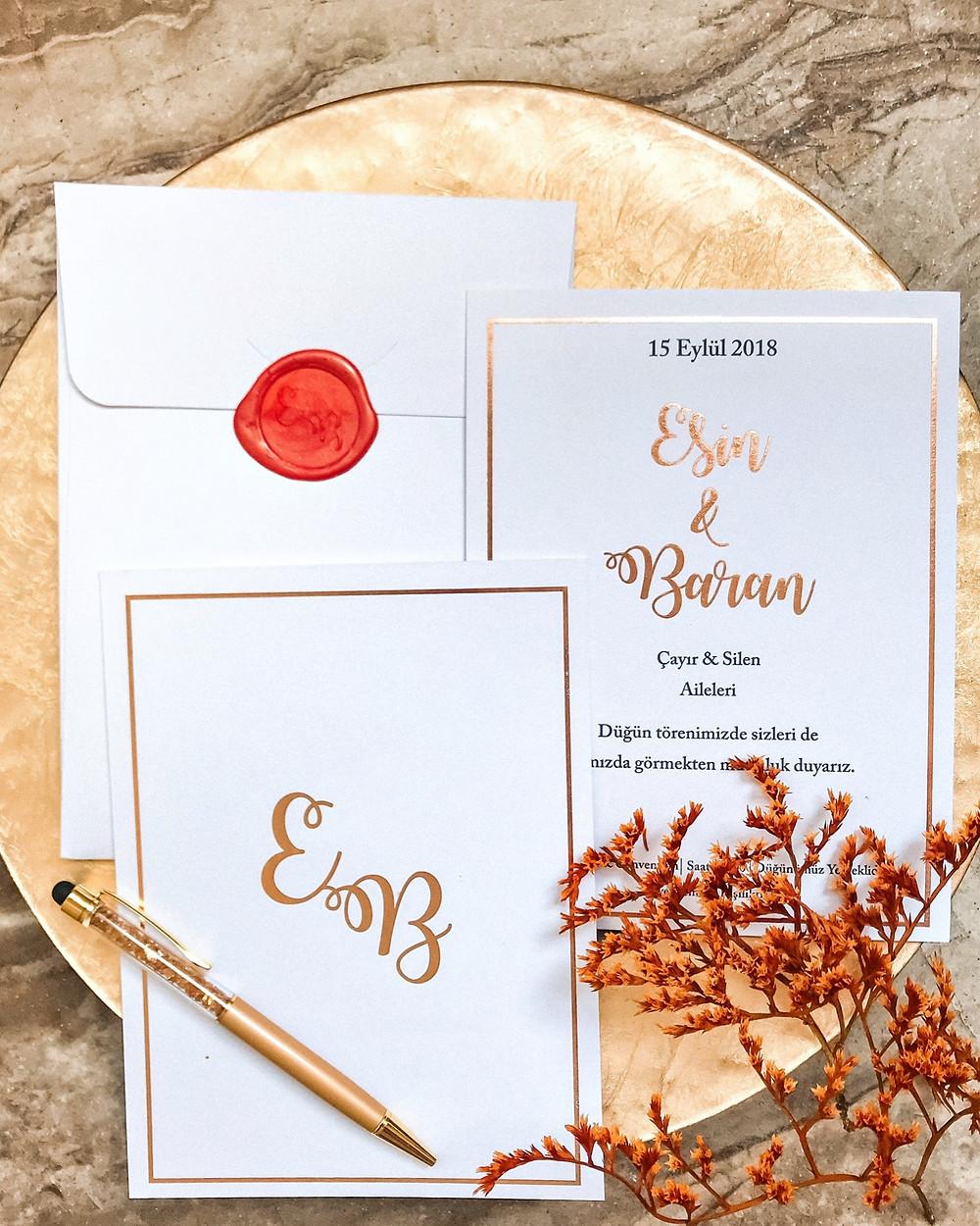 düğün davetiyesi şık tasarım