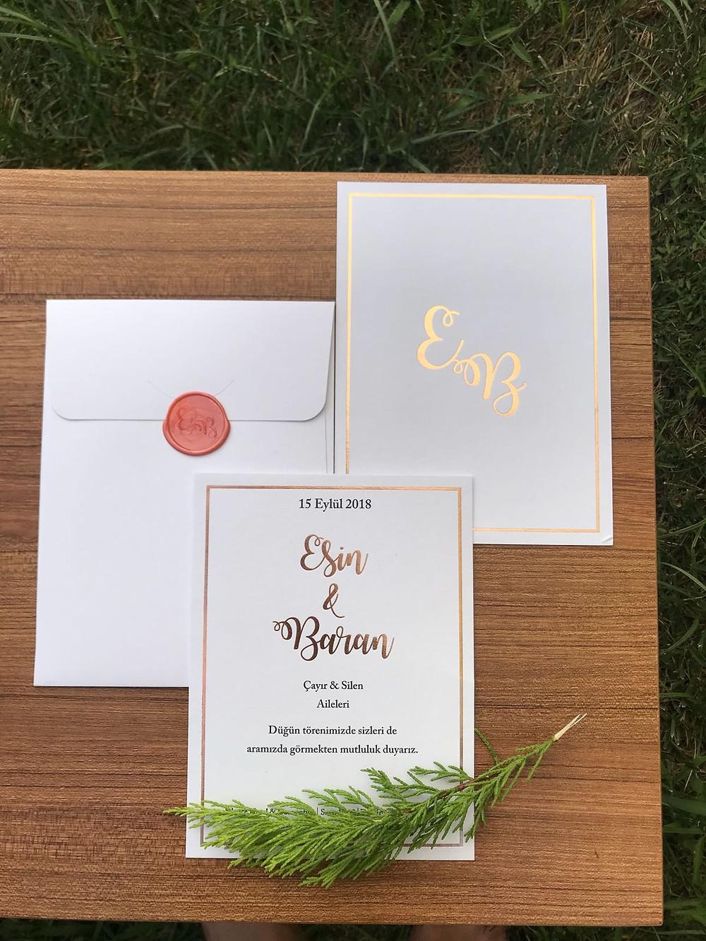 düğün davetiyesi şık tasarım mühürlü
