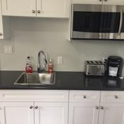 Microwave, fridge, toast, kettle, & coffee maker