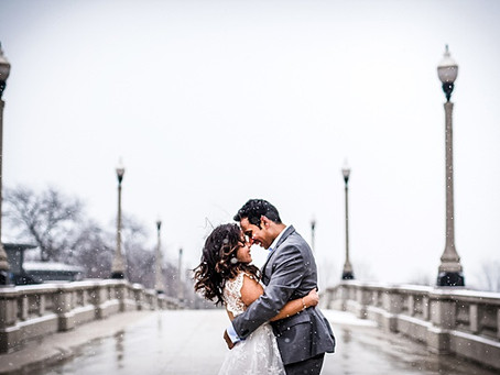 Chicago City Hall Wedding // Michelle + Krishna Elope in the Snow