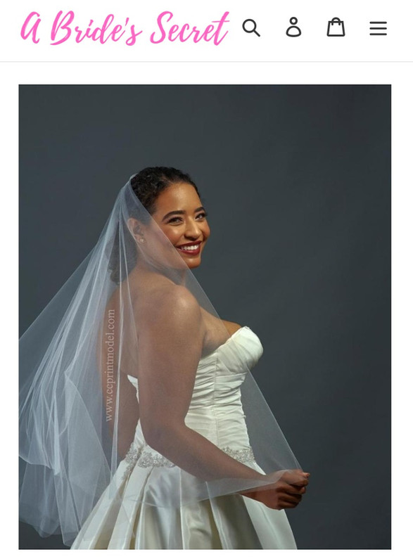 Smiling bride white tulle veil