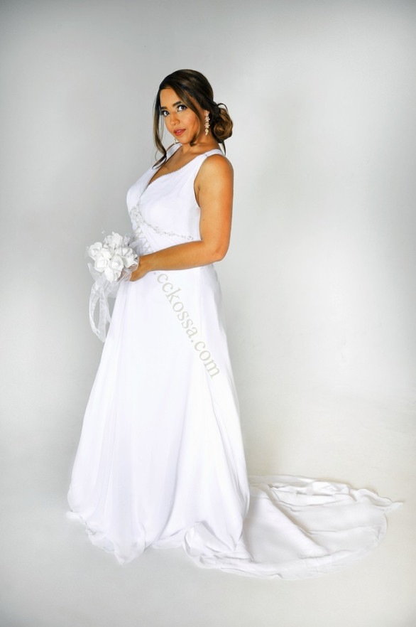 white chiffon bridal dress
