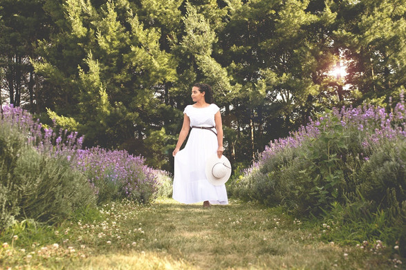 Model white flowing dress lavender field
