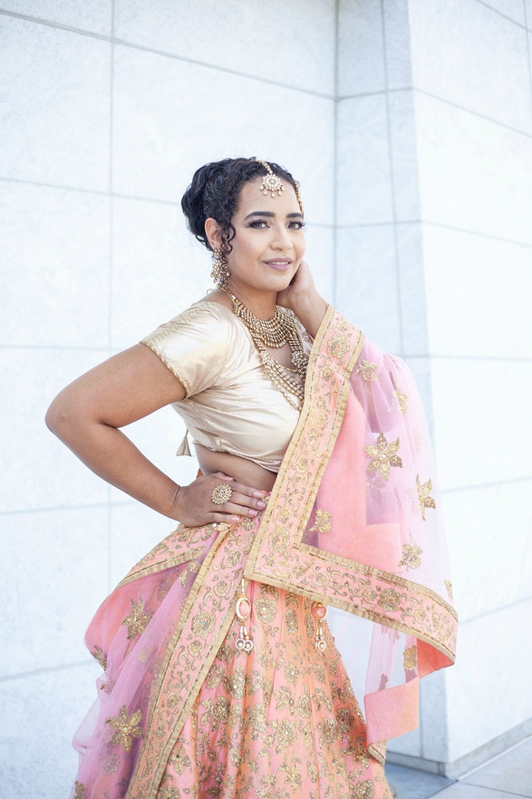South Asian dupatta apricot bridal
