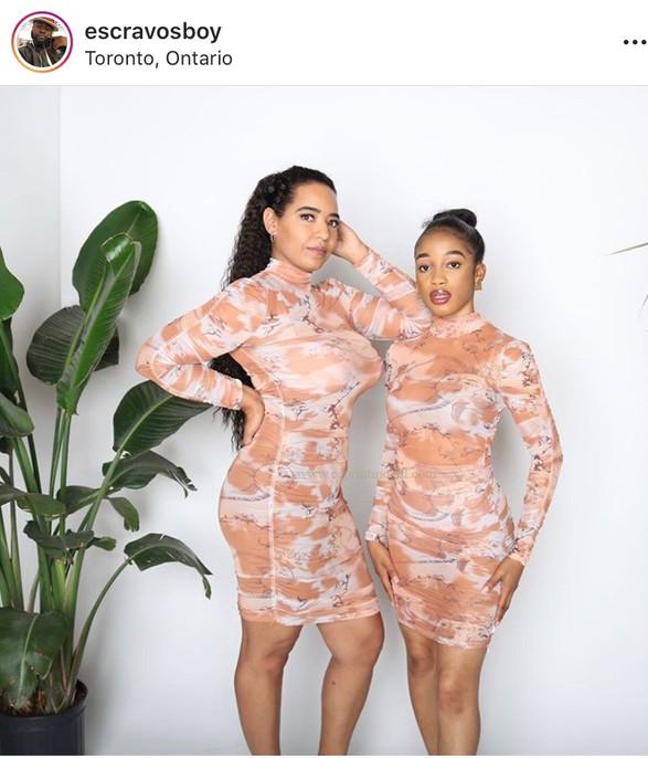 Fashion model printed bodycon dress