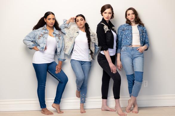 Fashion model denim jacket and blue jeans