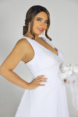 bridal model white sleeveless gown