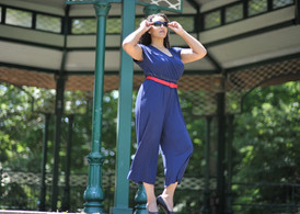 Toronto fashion model blue jumpsuit